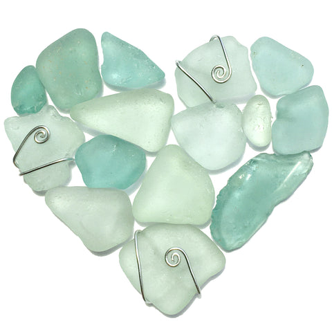 Green Scottish Seaglass Love Heart - Framed Sea Glass Beach Collage Picture (No. 1586)
