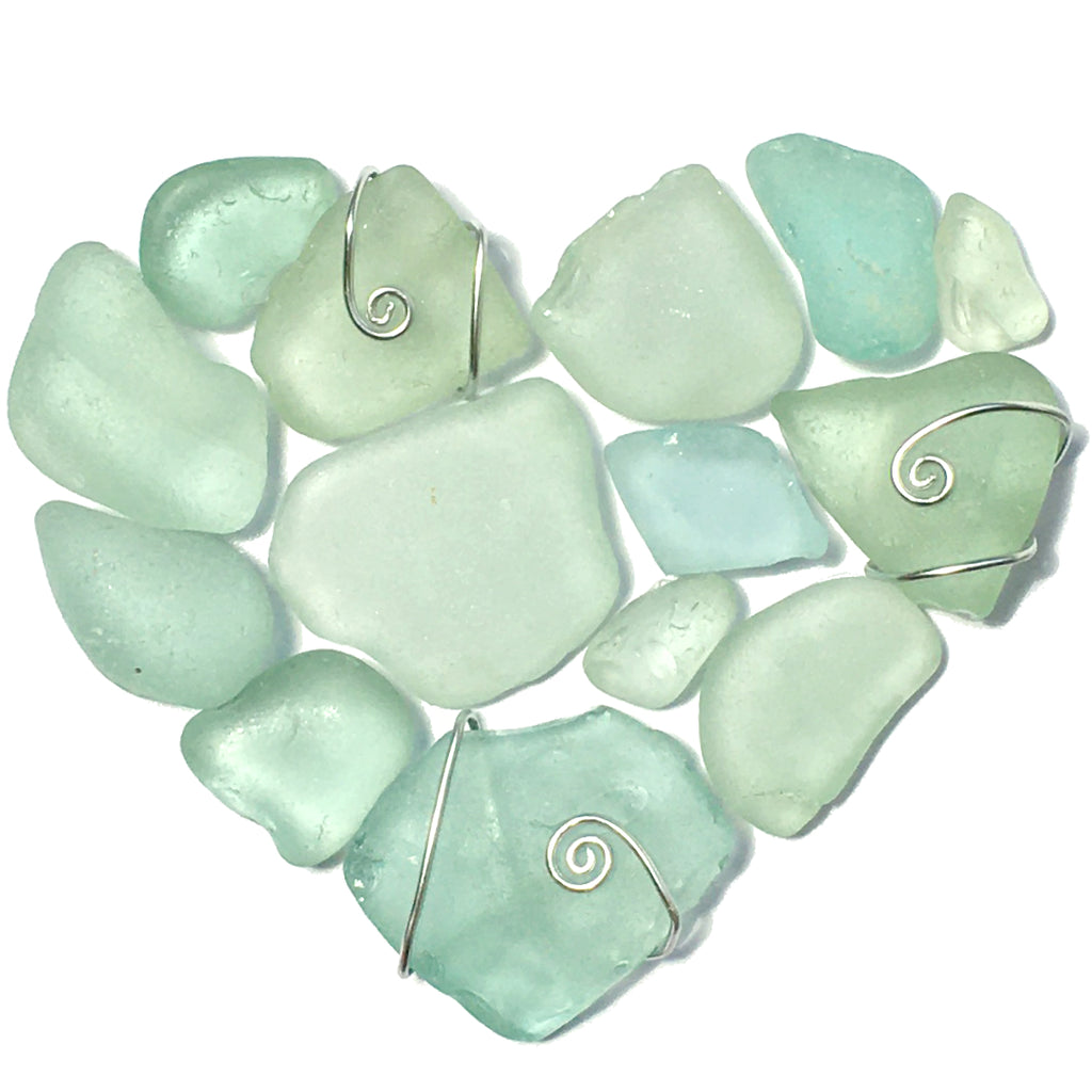 Green Scottish Seaglass Love Heart - Framed Sea Glass Beach Collage Picture (No. 1587)