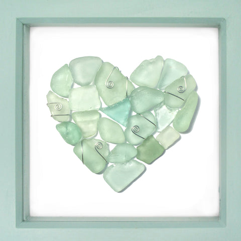 Green Scottish Seaglass Love Heart - Large Framed Sea Glass Beach Collage Picture (No. 1588)