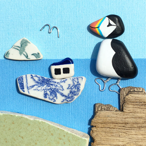 Pebble Puffin & Pottery Fishing Boat - Hand-Painted Framed Driftwood Beach Art Picture (No. 1590)