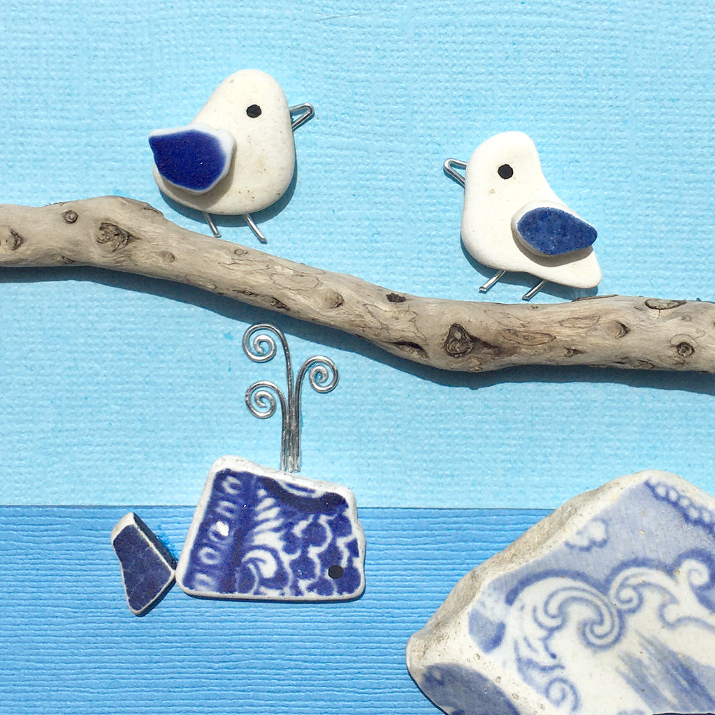 Pebble Seagulls, Antique Pottery Whale & Driftwood - Framed Beach Art Picture (No. 1592)