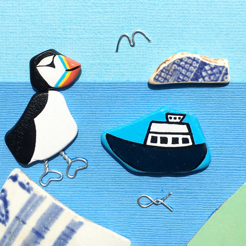 "Pebble Puffin & ""May Princess"" Isle of May Ferry - Hand-Painted Framed Beach Art Picture (No. 1593)"