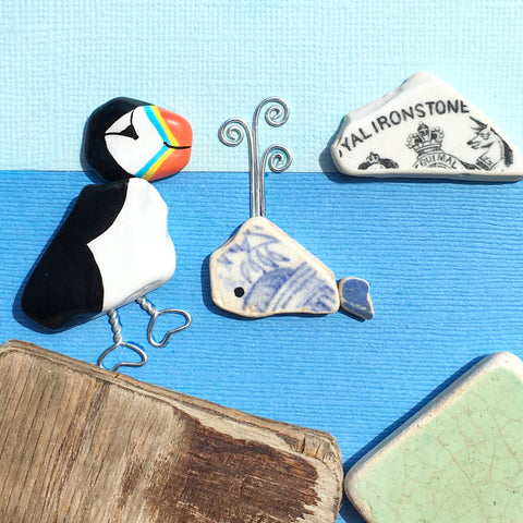 "Pebble Puffin, Pottery Whale and ""Royal Ironstone"" China - Framed Beach Art Picture (No. 1594)"