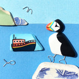RNLI Lifeboat & Pebble Puffin - Hand-Painted Framed Beach Art Picture (No. 1596)
