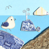 Pebble Seagull, Pottery Whale & Berwick Law - Framed Driftwood Beach Art Picture (No. 1598)