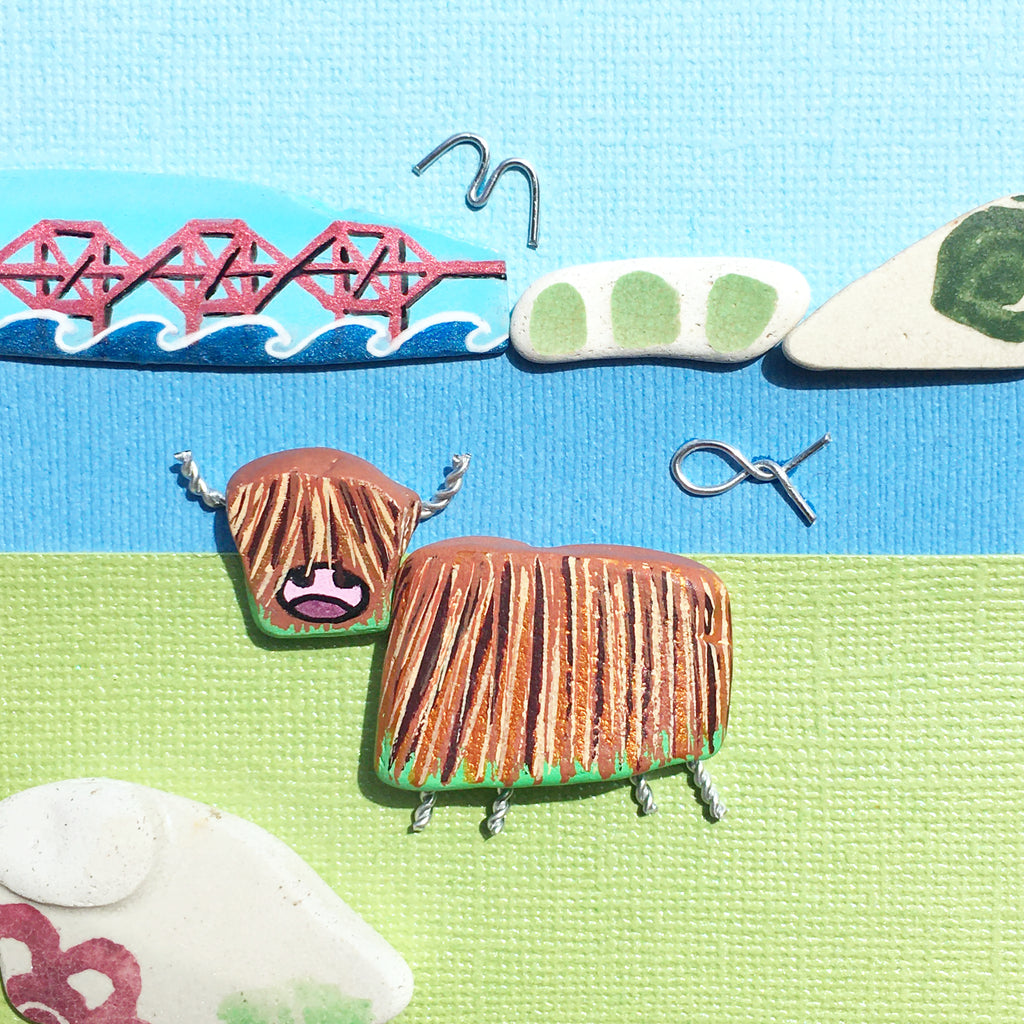 Highland Cow & Forth Rail Bridge - Hand-Painted Pottery - Framed Beach Art Picture (No. 1600)