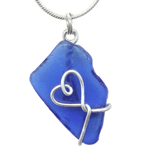 Cobalt Blue Scottish Sea Glass - Love Heart Wire-Wrapped Pendant Necklace (1601)