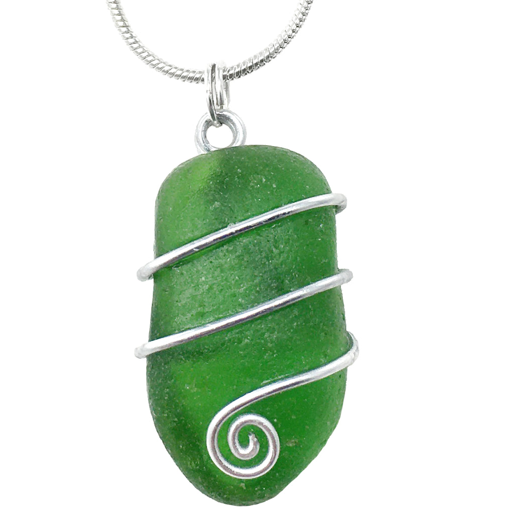 Emerald Green Scottish Sea Glass - Celtic Swirl Wire-Wrapped Pendant Necklace (1606)