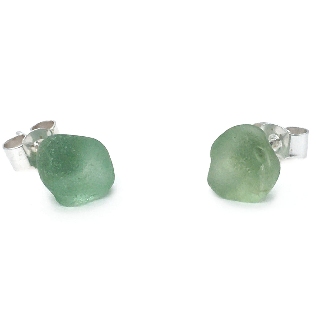 Seaglass Stud Earrings - Olive Green Scottish Sea Glass Jewellery (1626)