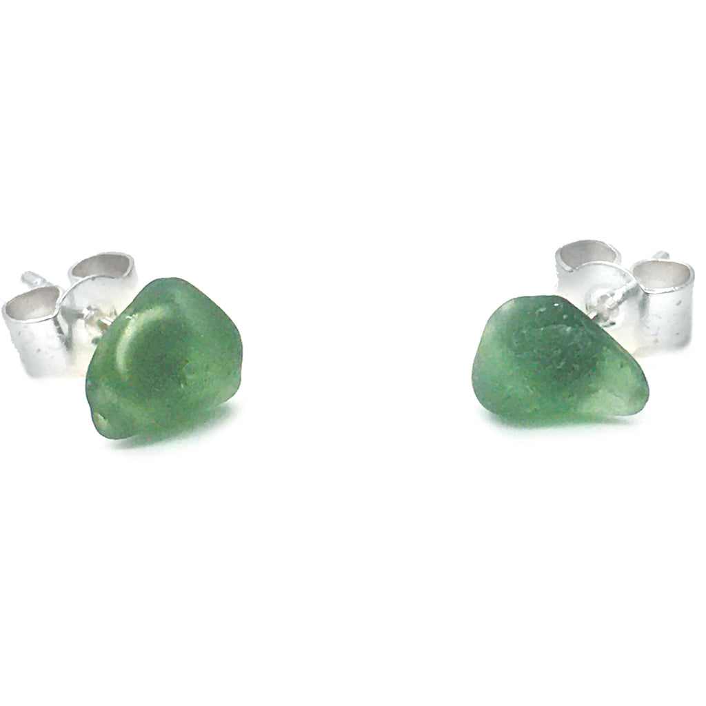 Seaglass Stud Earrings - Olive Green Scottish Sea Glass Jewellery (1627)