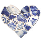 Antique Blue Willow Pattern Sea Pottery Love Heart - Framed Mosaic Picture (1638)