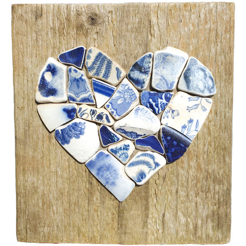 Antique Blue & White Sea Pottery Love Heart on Driftwood - Handmade Wall Plaque (1641)