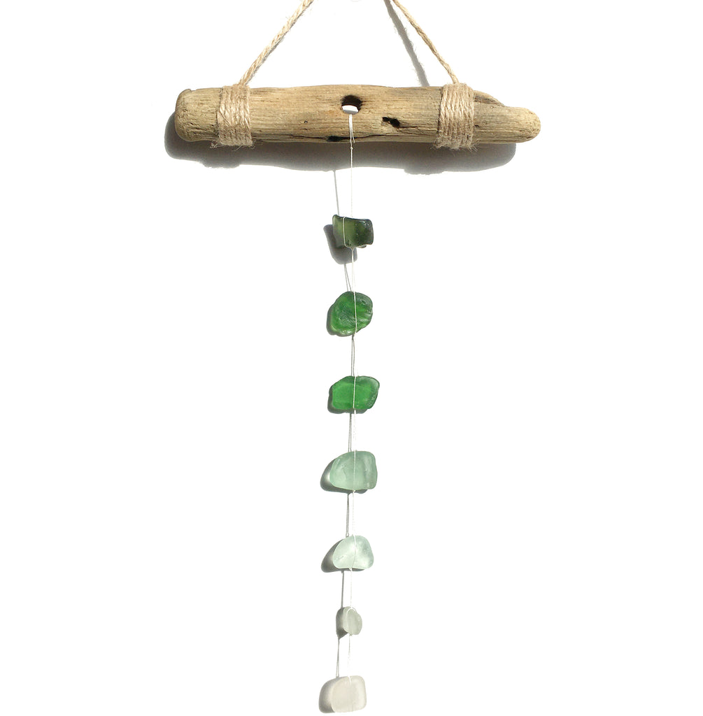 Green Sea Glass & Driftwood Suncatcher - Tiered Scottish Seaglass Mobile (1642)