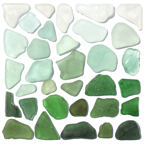 Green Scottish Sea Glass Square Mosaic - Framed Seaglass Beach Collage Picture (1645)