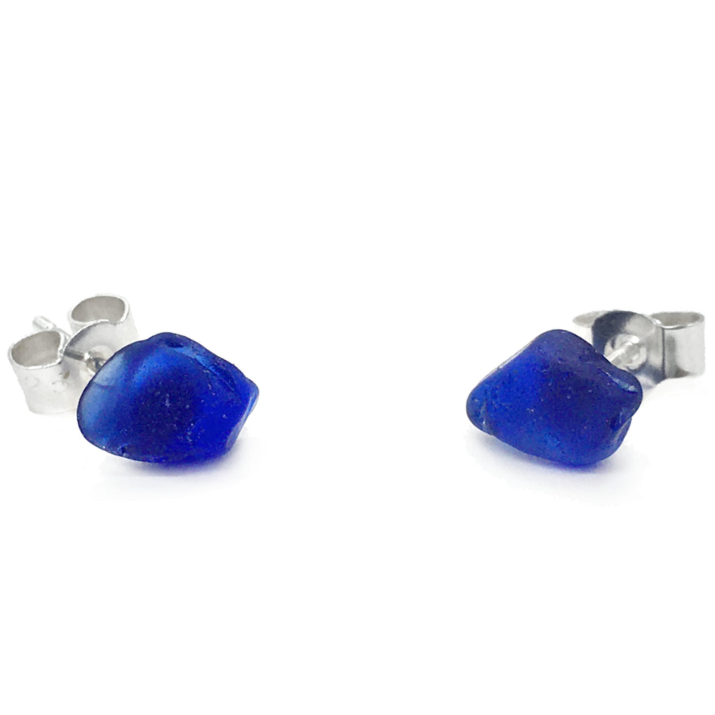 Seaglass Stud Earrings - Cobalt Blue Scottish Silver Sea Glass Jewellery (1648)
