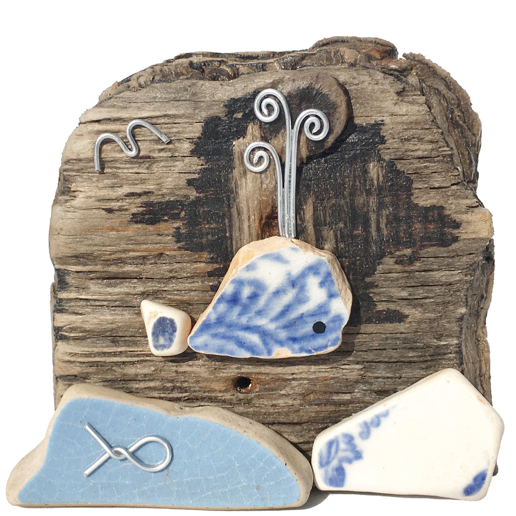 Blue Whale on Driftwood - Beach Pottery & Pebble Art Ornament (1651)