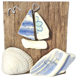 Blue Flower Sailing Boat - Beach Pottery Yacht & Cockle Shell Ornament (1655)