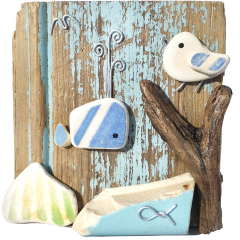 Seagull & Stripy Whale on Driftwood - Beach Pottery & Pebble Art Ornament (1656)