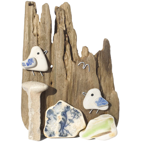 Pair of Seagulls on Driftwood - Beach Pottery & Pebble Art Ornament (1659)
