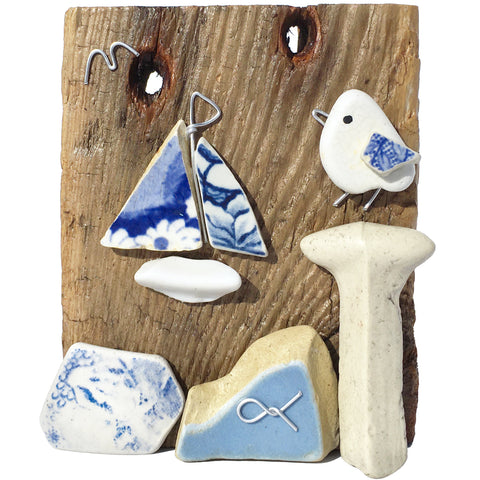 Seagull & Sailing Boat - Beach Pottery & Pebble Art Ornament (1661)
