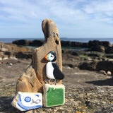 Hand Painted Puffin on Driftwood - Beach Pottery Wooden Ornament (1668)