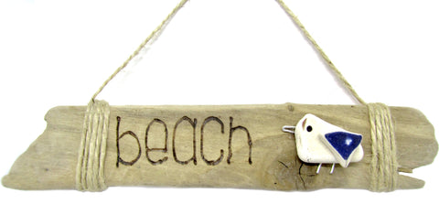 "Pyrography ""Beach"" & Seagull Sign (No. 179)"