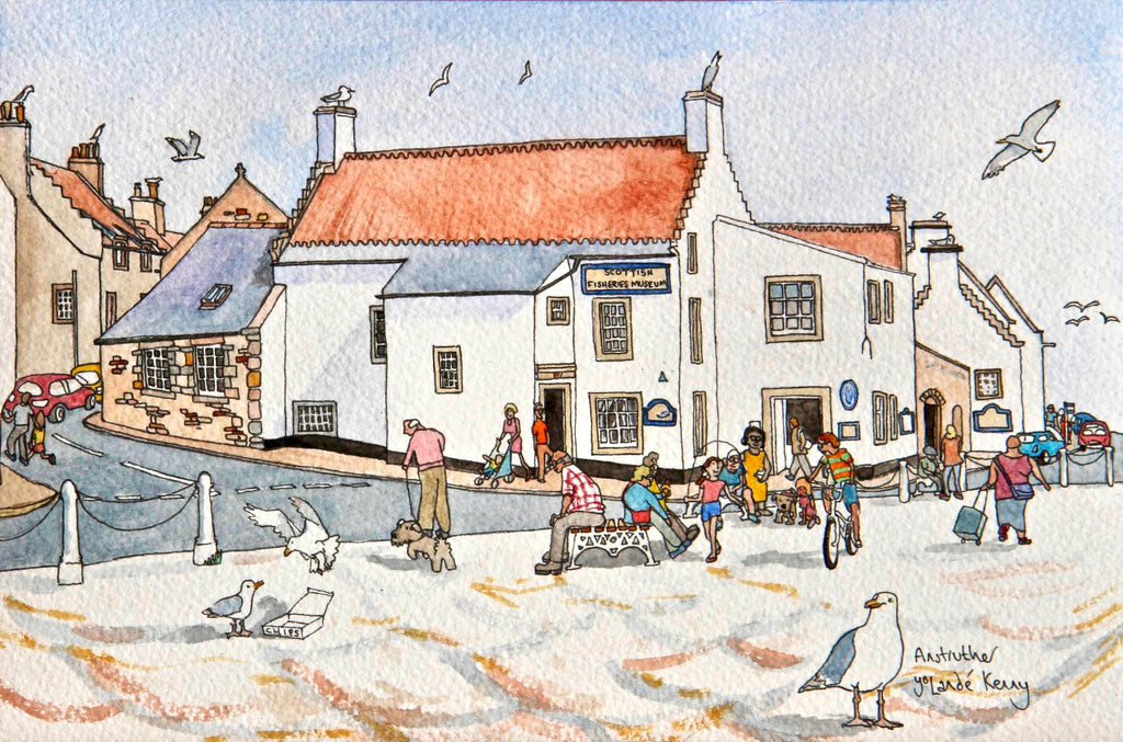 Scottish Fisheries Museum  - Limited Edition Watercolour Print by Yolandé Kenny