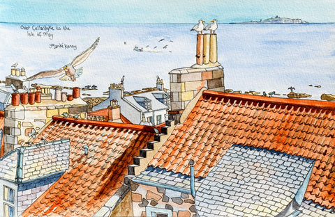 Over Cellardyke Rooftops to the Isle of May - Limited Edition Watercolour Print by Yolandé Kenny