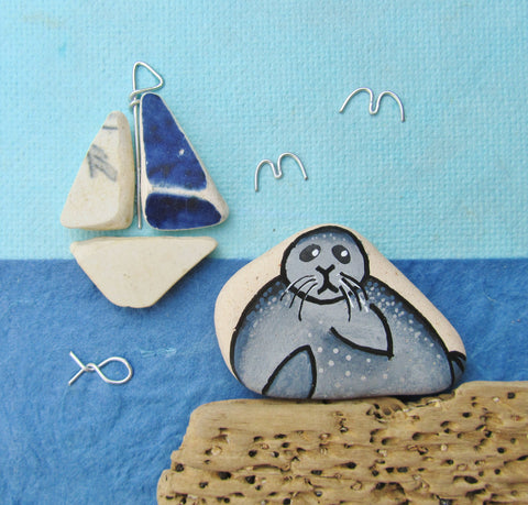 Seal & Sailing Boat - Framed (No. 320)