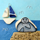 """Seal & Sailing Boat"" Greetings Card (No. 362) - East Neuk Beach Crafts"