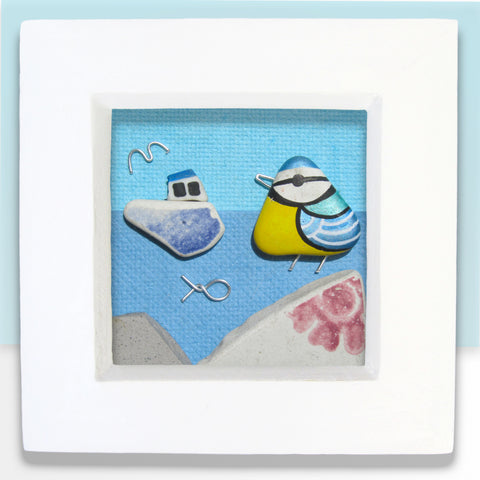 Blue Tit & Fishing Boat - Beach Pebble Art - Mini Framed Picture (No. 378)