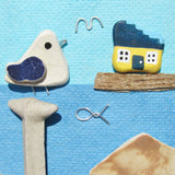 Seagull & Fisherman's Cottage - Beach Pebble Art - Mini Framed Picture (No.393)
