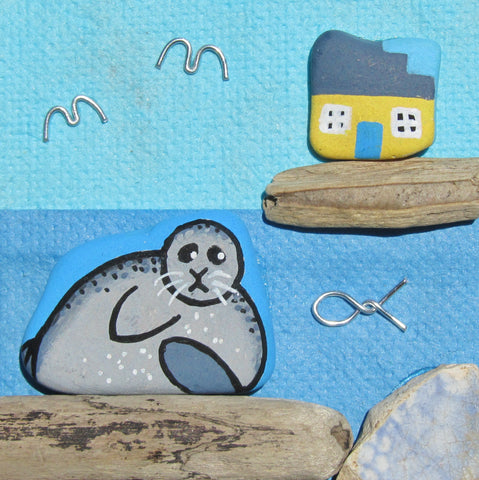 Hand-Painted Pebble Seal & Yellow Cottage - Small Framed Beach Collage (No. 423)