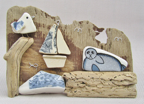 Seagull, Boat & Seal on Driftwood