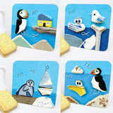 """Puffin & Cottage"" Drinks Coaster"