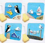 Set of 4 Seaside Drinks Coasters - Seagulls, Puffins, Boats & Whales