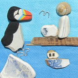 Hand-Painted Puffin, Lighthouse & Fishing Boat - Small Framed Beach Collage (No. 510)