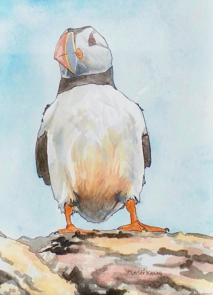 Original Puffin Watercolour Painting by Yolandé Kenny (597)