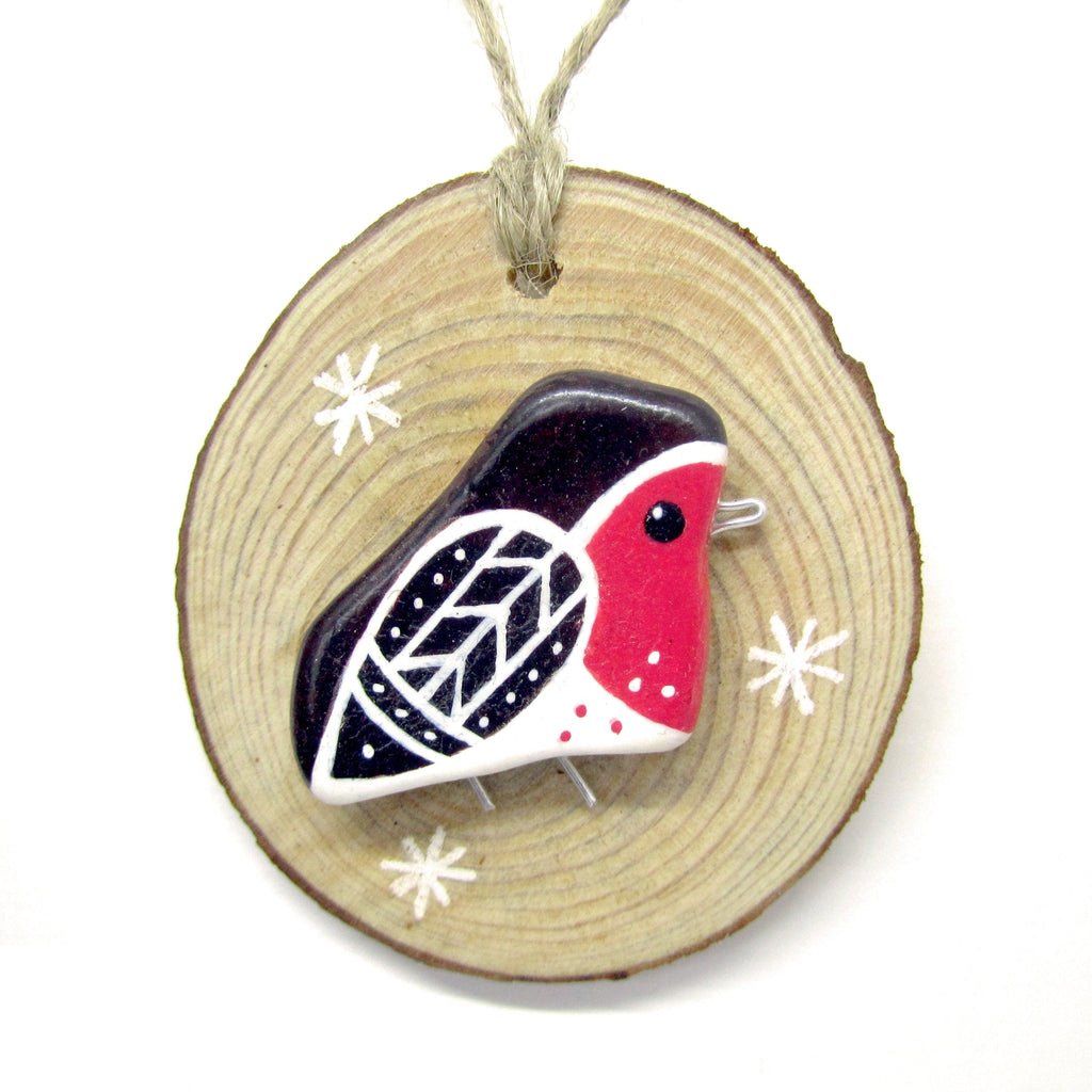 Robin Beach Pebble Christmas Tree Decoration (No. 644)