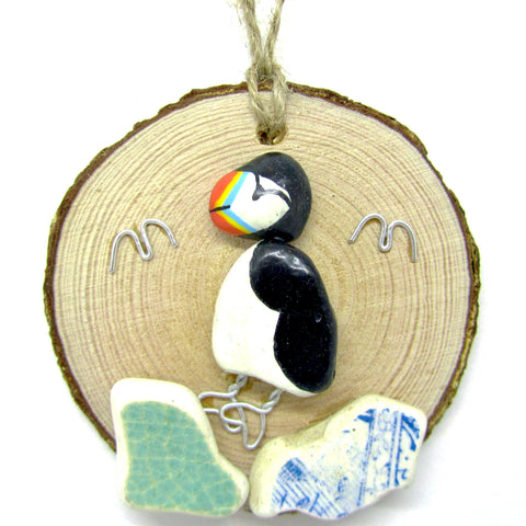 Puffin Hand Painted Beach Pebble Wood Hanger (No. 661)