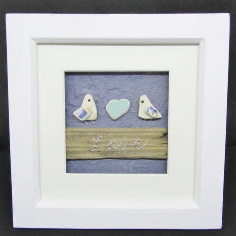 Seagulls, Pottery Heart & Driftwood \'Love\' Wire Writing - Framed ...