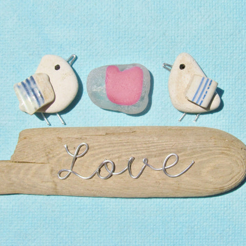 Seagulls, Rare Pink Seaglass Heart, Driftwood 'Love' - Framed Beach Collage (No. 678)