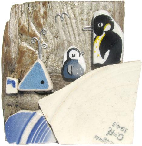 Handpainted Pebble Penguins & Whale on Driftwood - 1943 WWII King George VI Pottery (No. 704)