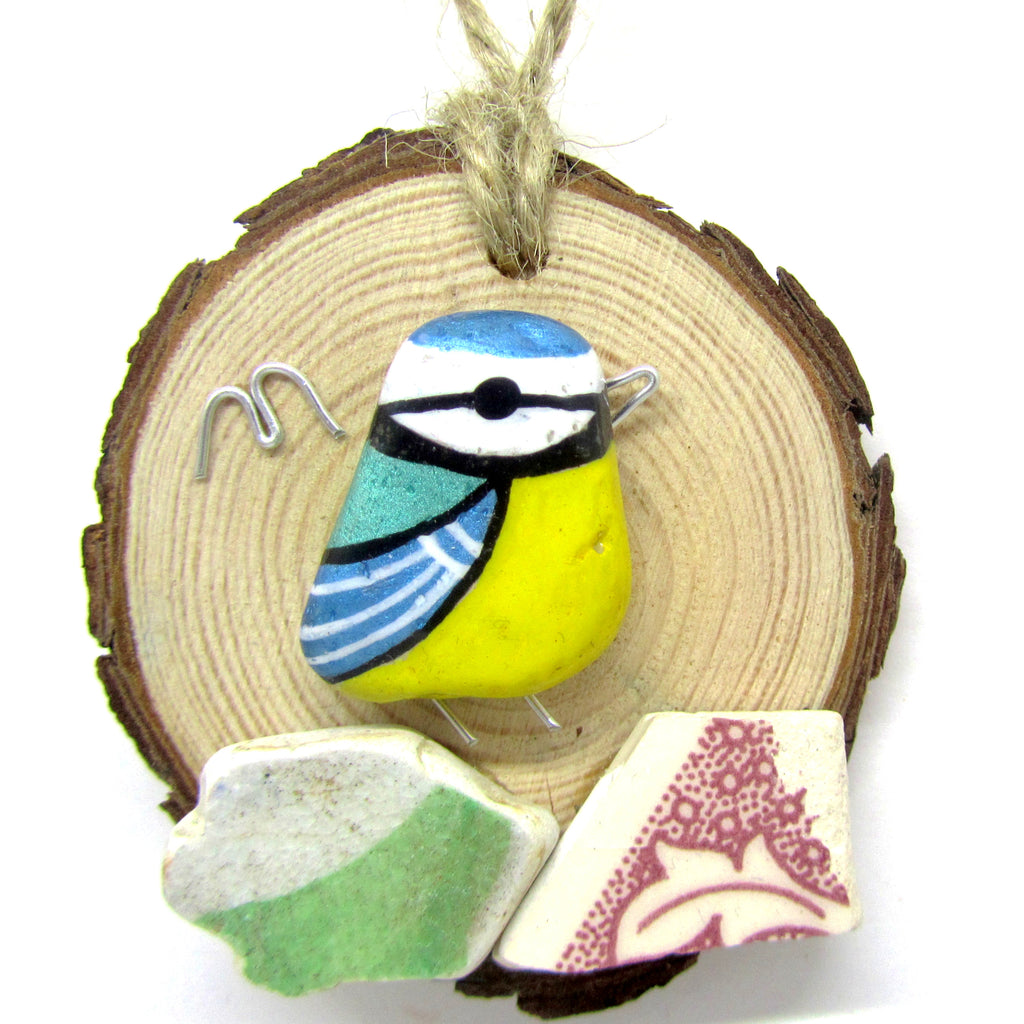 Blue Tit Hand Painted Beach Pebble Wood Hanger (No. 741)