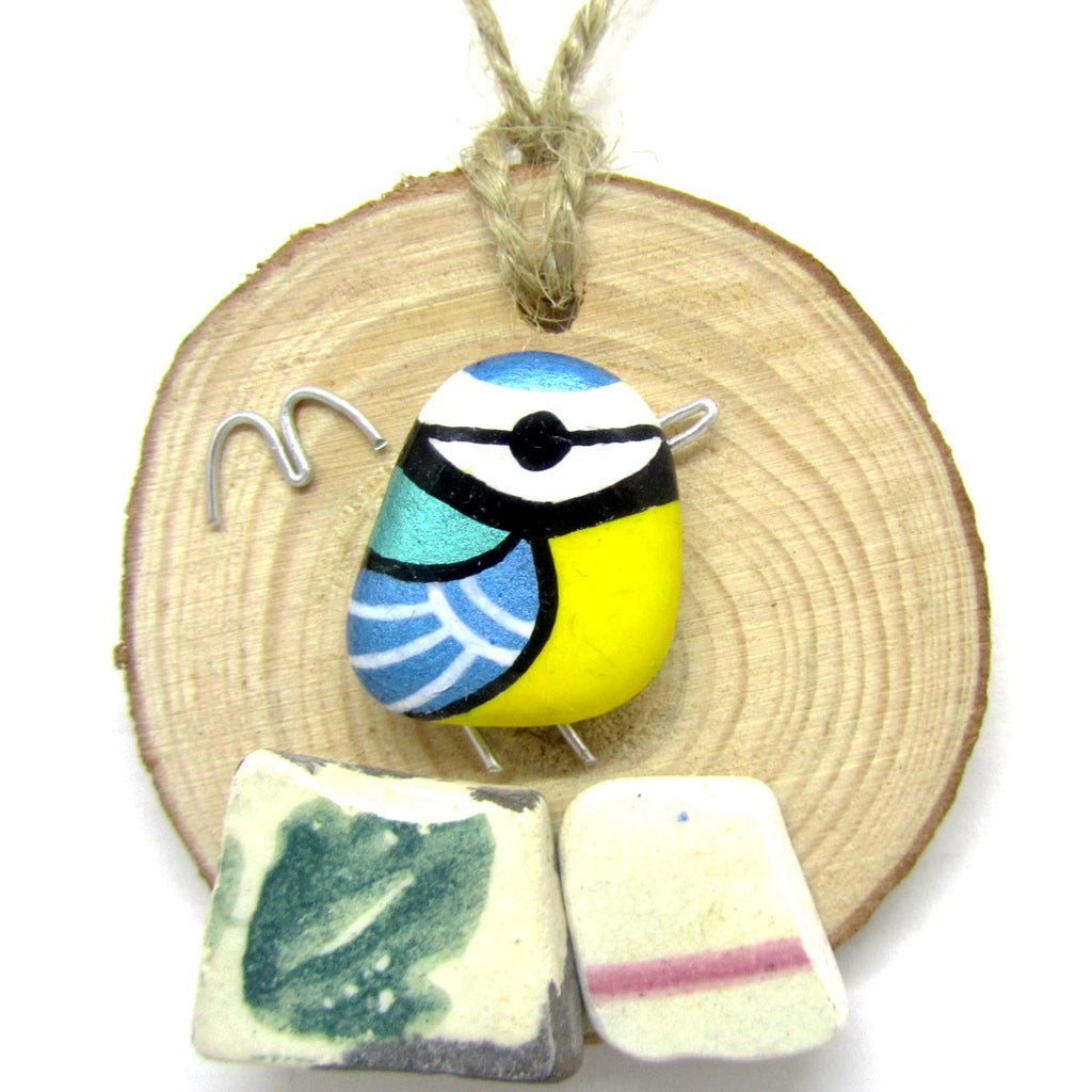 Blue Tit Hand Painted Beach Pebble Wood Hanger (No. 744)