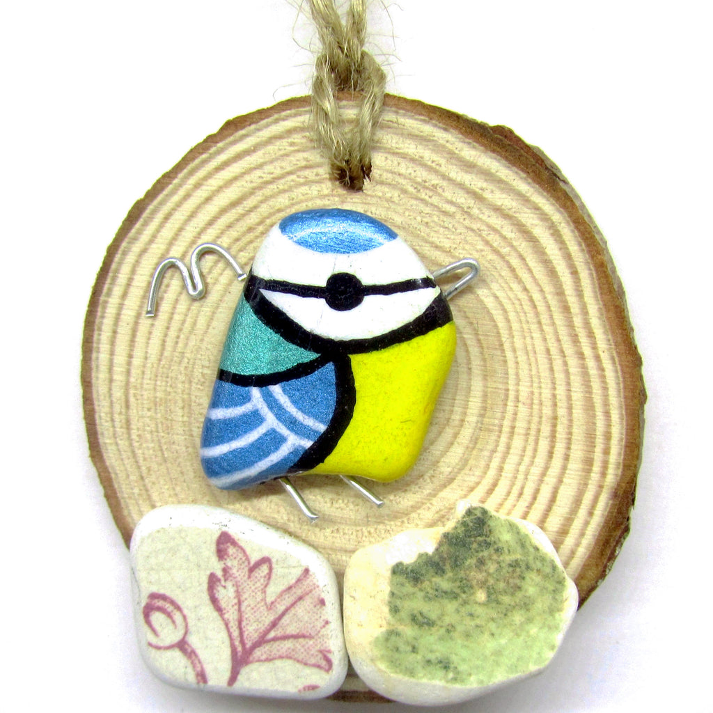 Blue Tit Hand Painted Beach Pebble Wood Hanger (No. 745)