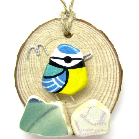 Blue Tit Hand Painted Beach Pebble Wood Hanger (No. 746)