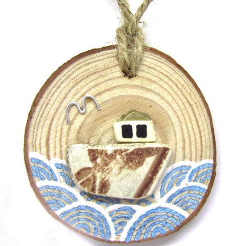 Fishing Boat - Brown - Antique Beach Pottery Wood Hanger (No. 756)