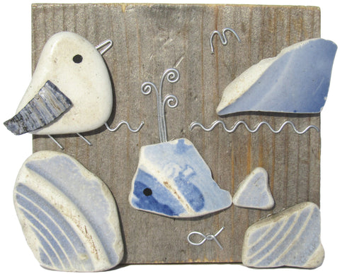 Pebble Seagull & Pottery Whale on Driftwood (No. 760)