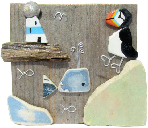 Hand Painted Pebble Puffin, Whale & Lighthouse on Driftwood (No. 761)